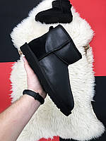 UGG Classic II Mini Black Leather / Мини угги женские, кожаные, черные