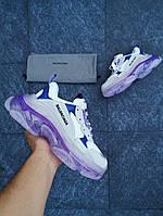 "Женские кроссовки Balenciaga Triple-S ""Violet/Blue"" в стиле Баленсиага"