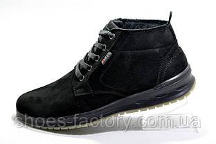 Кожаные ботинки в стиле Ecco, Зимние на меху
