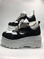 Кросівки шкіряні жіночі чорного кольору. Кроссовки женские кожаные чёрные.