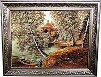 """Картина із бурштину """"Човник на березі"""" (30 x 40 см) B042"""