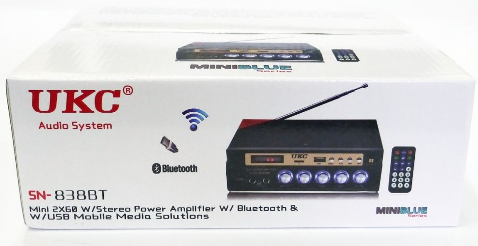 Усилитель звука UKC SN-838 BT, USB, Bluetooth, караоке, пульт
