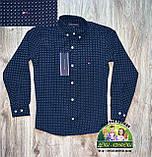 Нарядный комплект темно-синяя рубашка с бабочкой и белые брюки для мальчика 5-6 лет, фото 3