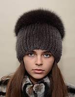 """Женская вязанная норковая шапка """"Перо"""""""