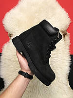 Ботинки женские Timberland Black Thermo Premium (Деми) / Тимберленд, черные, нубук