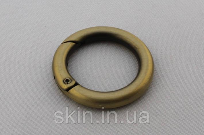 Кольцо-Карабин, внутренний диаметр 25 мм, толщина 5.5 мм, цвет - антик, артикул СК 5571, фото 2