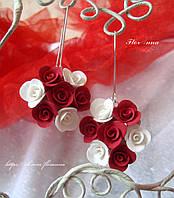"""""""Бело-красные розы"""" серьги ручной работы"""