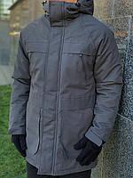 Куртка парку чоловіча зимова тепла якісна сіра Arctic + рукавички в подарунок, фото 1