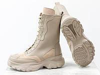 Высокие ботинки берцы бежевого цвета из натуральной кожи и замши на модной высокой подошве светло-бе ...