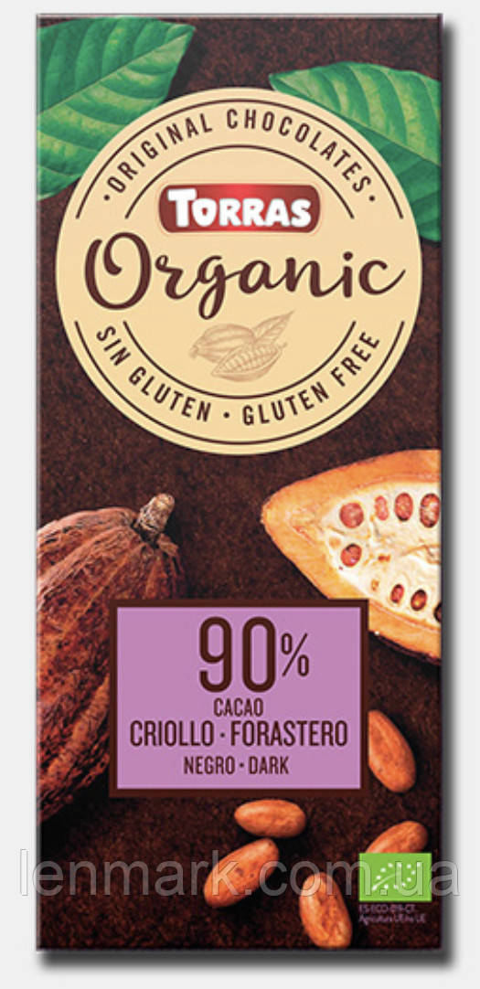 Черный шоколад Torras ORGANIC Dark chocolate 90% какао