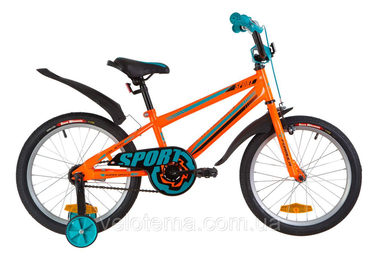 """Детский Велосипед 18"""" Formula SPORT  14G    рама-9,5"""" St оранжево-бирюзовый  с крылом Pl 2019"""