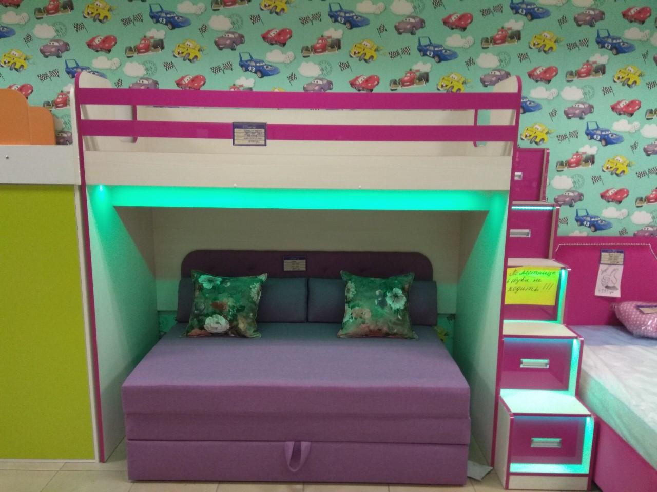 Кровать детская двухъярусная с подсветкой