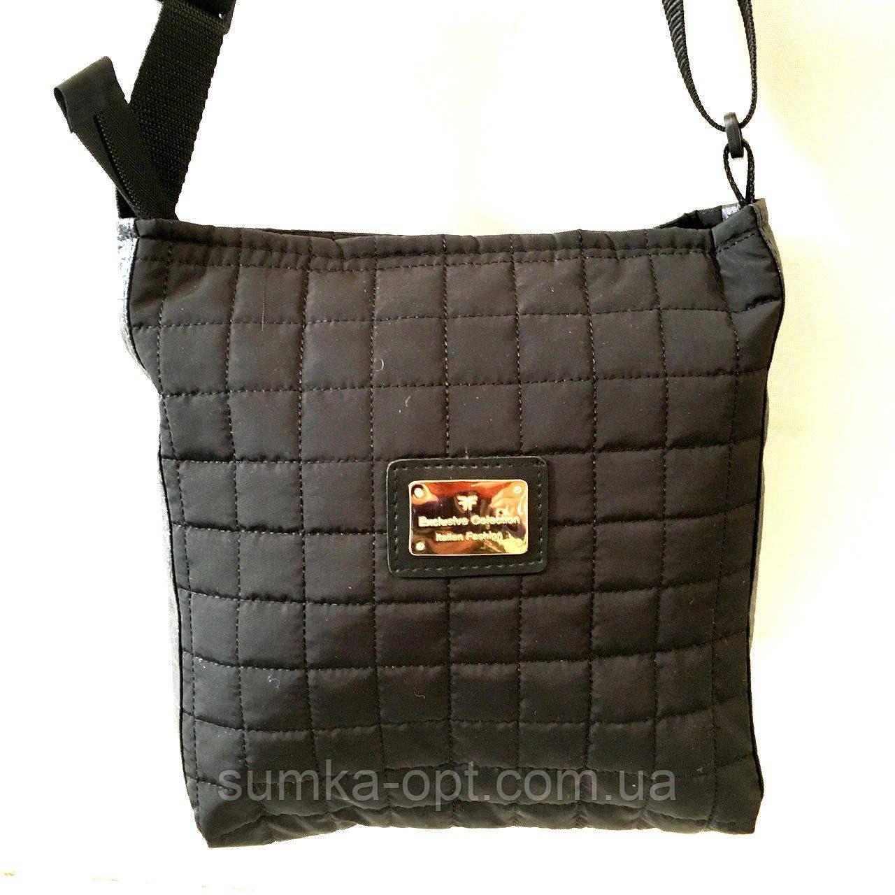 Женские стеганные сумки дешево опт до 100грн (черный)24*28см