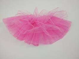 Яркая розовая многослойная юбка из фатина на девочку 3-9 лет