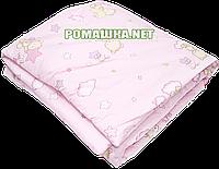 Одеяло детское 140х100 см на силиконе в детскую кроватку, кровать, верх хлопок 582 Розовый