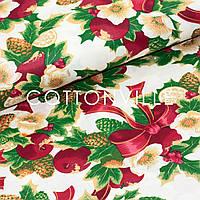 Бавовняна тканина Букети з шишками та омелою