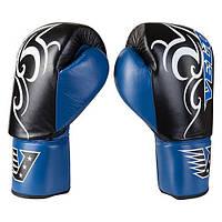 Боксерские перчатки Velo на шнуровке, кожа, 12oz, сине/черный VLS3-12B, фото 1