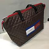 Брендовые сумки Ferrari стеганные (каштан)30*50см, фото 3