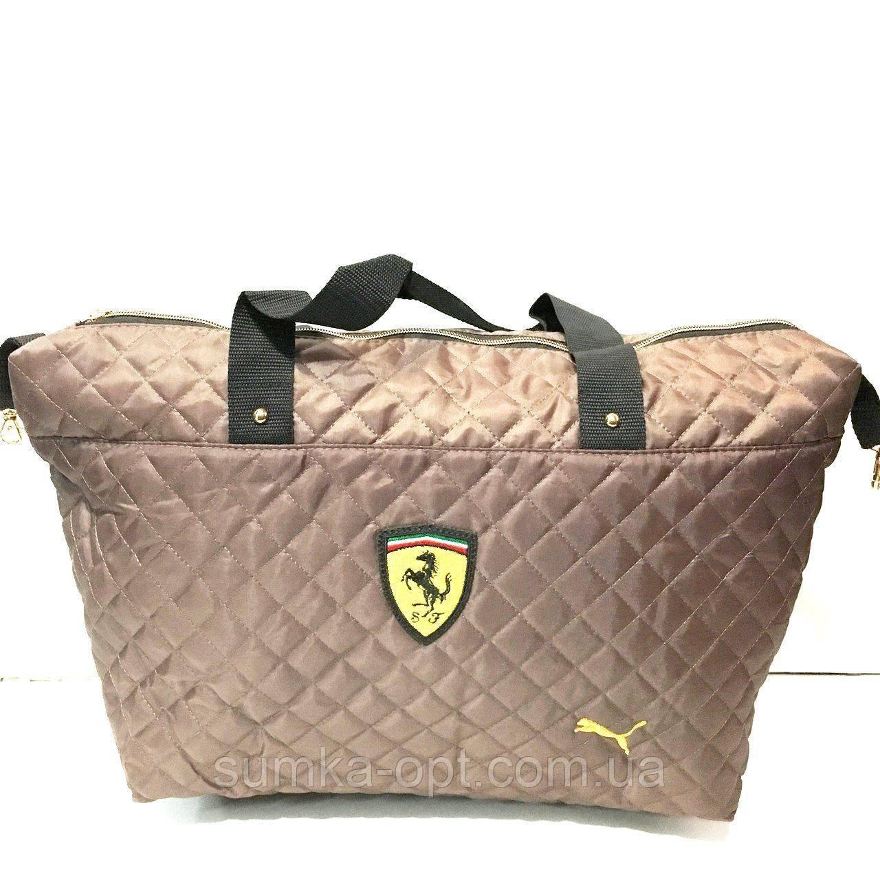 Брендовые сумки Ferrari стеганные (каштан)30*50см