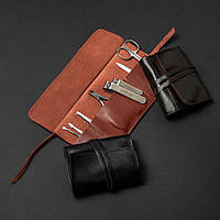 """🔥 Набор маникюрный кожаный """"Elite"""": ножницы, пилочка, 2 книпсера, кусачки, пинцет и лопатка в одном комплекте Black"""