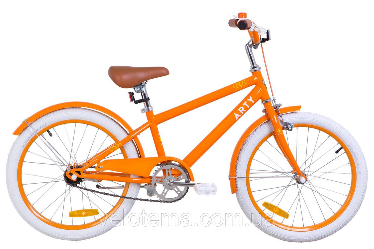 """Детский Велосипед 20"""" Dorozhnik ARTY 14G рама-11,5"""" St оранжевый с крылом St 2019"""