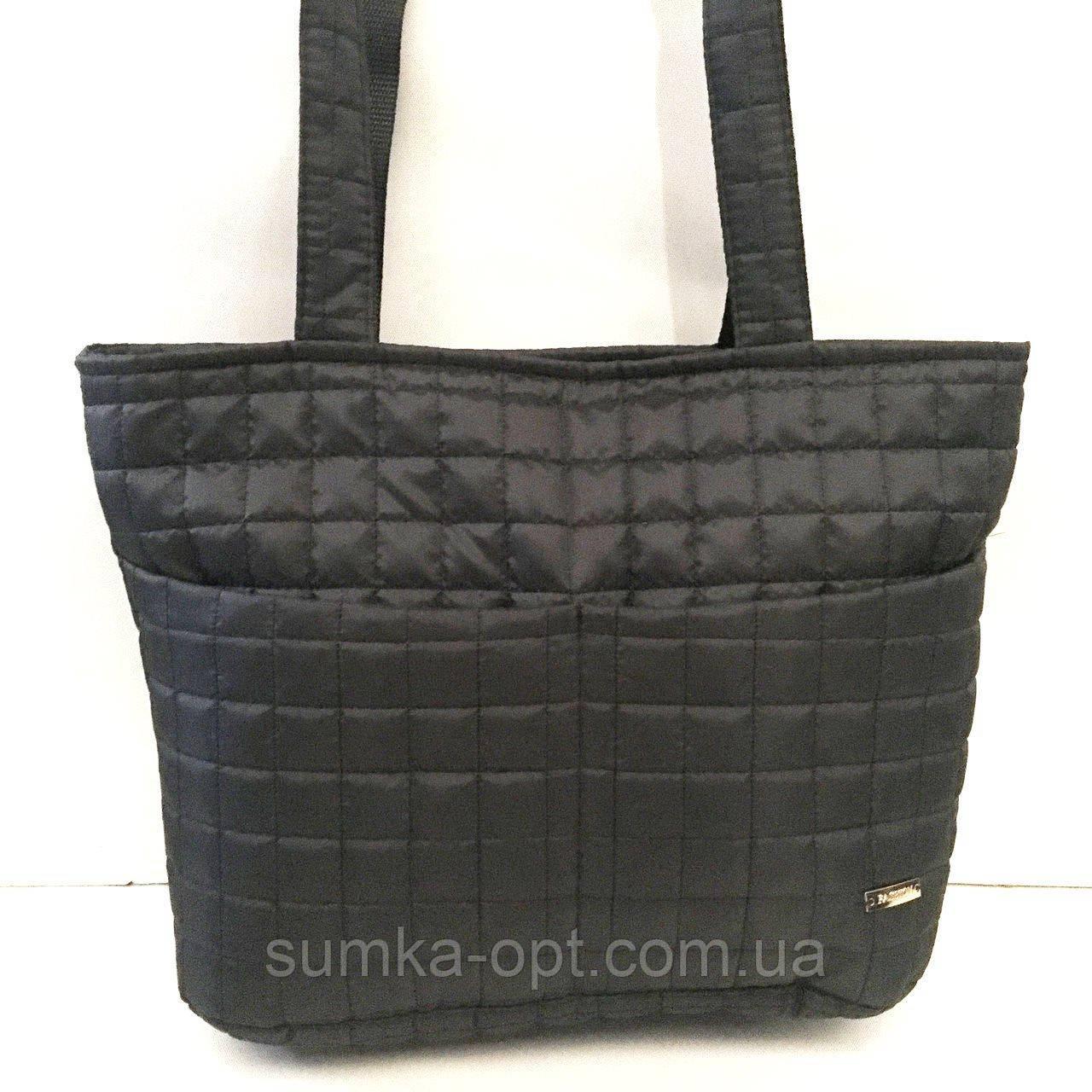 Женские стеганные сумки дешево опт до 100грн (черный)26*40см