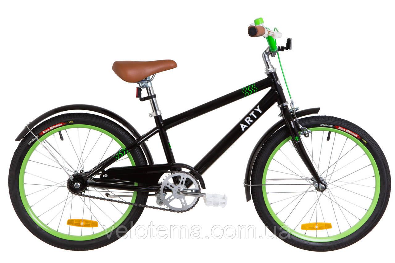 """Подростковый Велосипед 20"""" Dorozhnik ARTY 14G рама-11,5"""" St черно-салатный с крылом St 2019"""