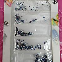 Стразы, камни Yan Nail Deco на блистере для дизайна ногтей синий