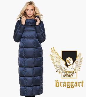 Воздуховик Braggart Angel's Fluff 31056   Длинная женская куртка синий бархат, фото 2