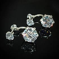 Серебряные серьги-пуссеты 2-в-1 с фианитами, фото 3