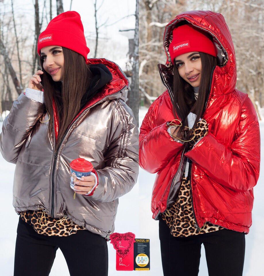 Стильная короткая зимняя двухсторонняя куртка с капюшоном