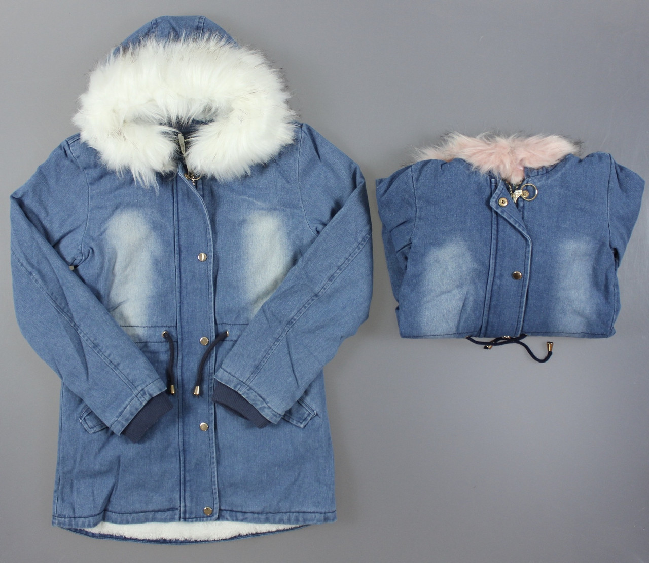 Джинсовая куртка на меху для девочек, 6-16 лет. Артикул: CSQ81022 {есть:6 лет}