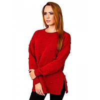 Теплый вязаный свитер красный