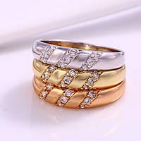Кольцо тройное (желтое, белое и розовое золото) разм 16 код 12183, фото 1