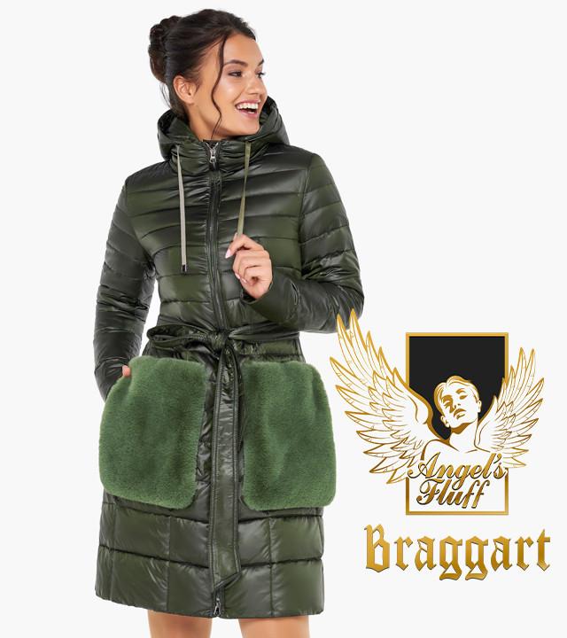 Воздуховик Braggart Angel's Fluff 31845 | Осеннее-весенняя женская куртка цвет темный хаки