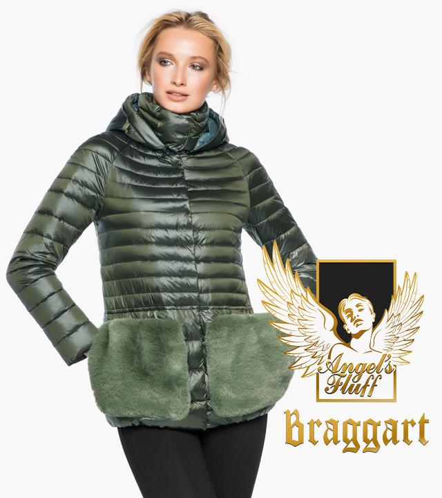 Воздуховик Braggart Angel's Fluff 15115   Куртка женская осенне-весенняя цвет темный хаки