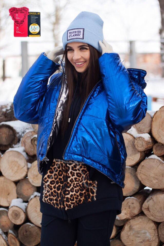 Стильная короткая зимняя двухсторонняя куртка с капюшоном,цвет электрик с серебром