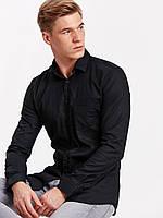 Черная мужская рубашка LC Waikiki / ЛС Вайкики на черных пуговицах с карманом на груди