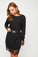 Короткое черное ангоровое платье с кружевом