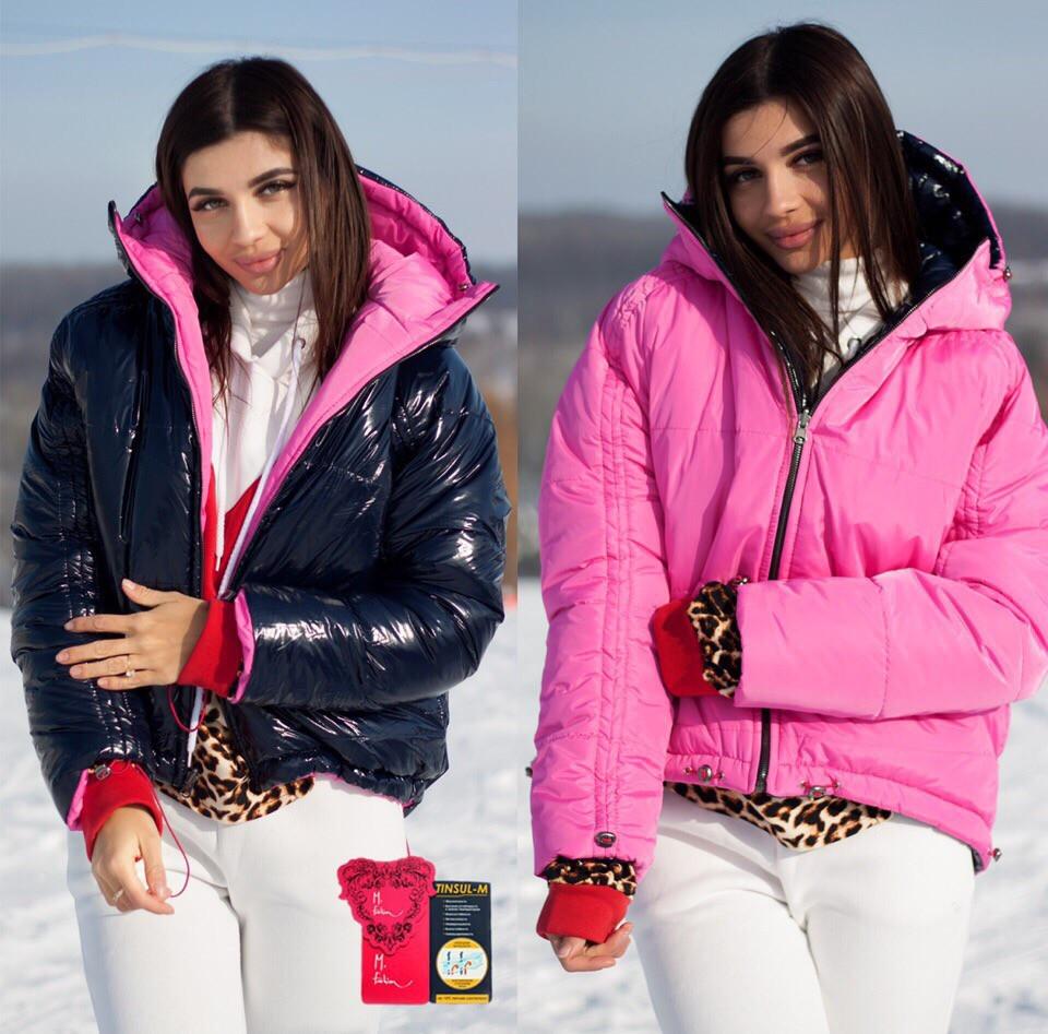 Женская стильная двухсторонняя куртка с капюшоном