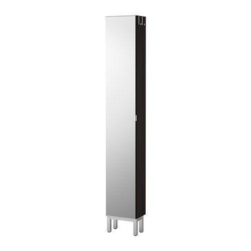 """ИКЕА """"ЛИЛЛОНГЕН"""" Высокий шкаф с зеркальной дверцей, черно-коричневый"""