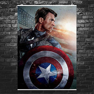 "Постер ""Капитан Америка со щитом на фоне флага США"". Captain America, Marvel. Размер 60x42см (A2). Глянцевая бумага"