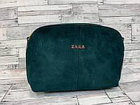 Женский замшевый клатч сумка Zara (бутылочный), фото 1