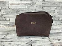 Женский замшевый клатч сумка Zara (коричневый), фото 1