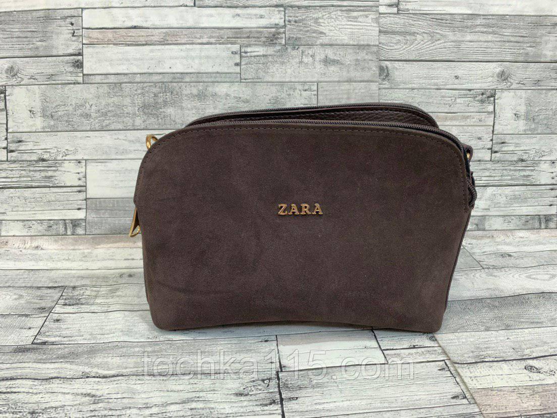 Женский замшевый клатч сумка Zara (коричневый)