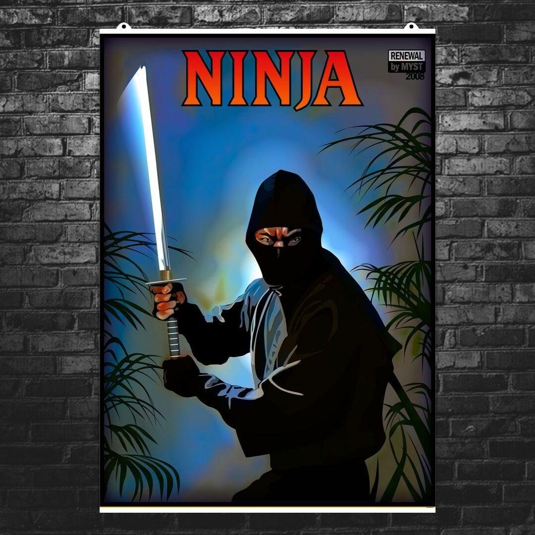 """Постер """"Ниндзя"""". Ninja, ретропостер (перерисованный). Размер 60x44см (A2). Глянцевая бумага"""