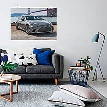 "Постер ""Toyota Lexus LS500 Silver Grey Sedan"", Тайота Лексус. Размер 60x43см (A2). Глянцевая бумага, фото 3"