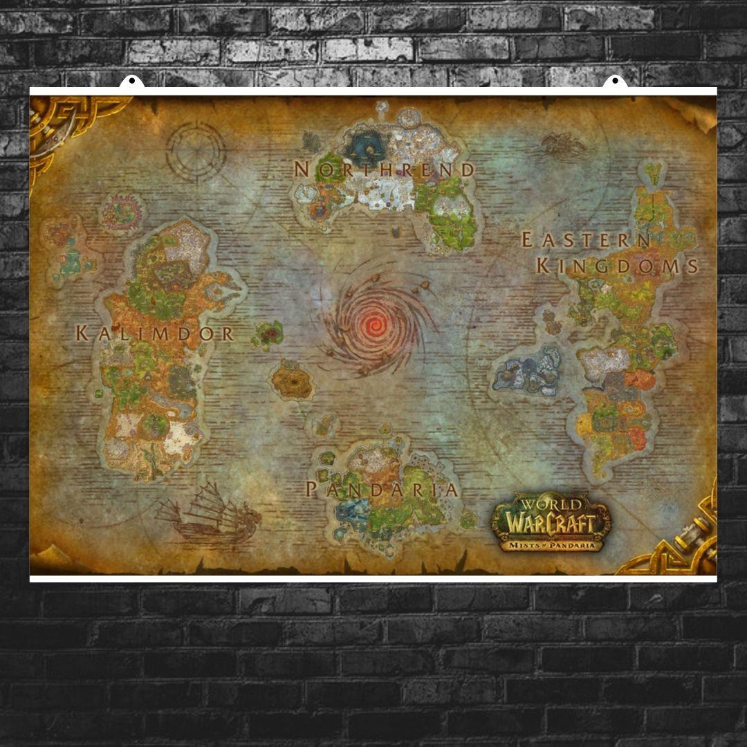 "Постер ""Карта Азерота и Пандарии"". Azeroth, Pandaria, Варкрафт. Размер 60x38см (A2). Глянцевая бумага"