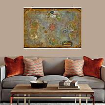 "Постер ""Карта Азерота и Пандарии"". Azeroth, Pandaria, Варкрафт. Размер 60x38см (A2). Глянцевая бумага, фото 3"