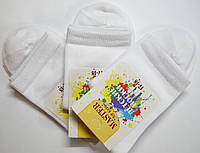 Детские хлопковые носки высокие белого цвета